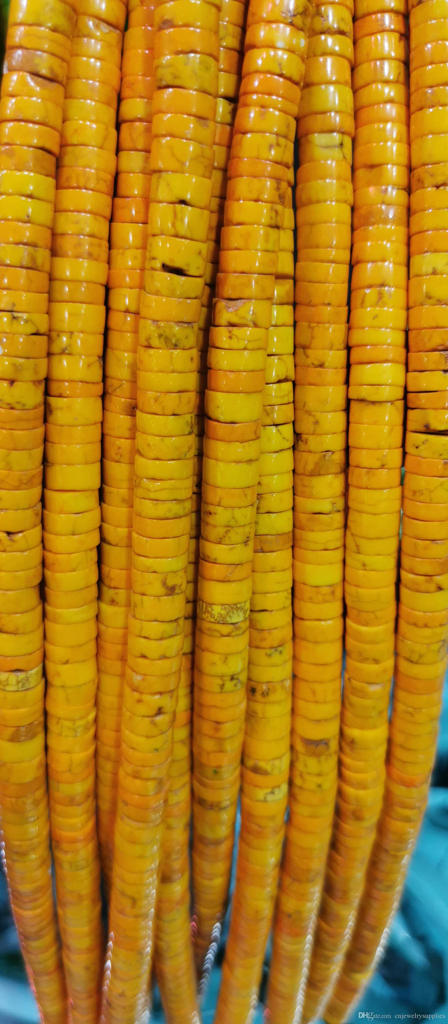 Золотисто-желтый бирюзовый 4мм \ 6мм \ 8мм \ 10мм \ 12мм бирюзовый Gemstone Heishi ломтик Rondelle колеса свободные шарики 16inch