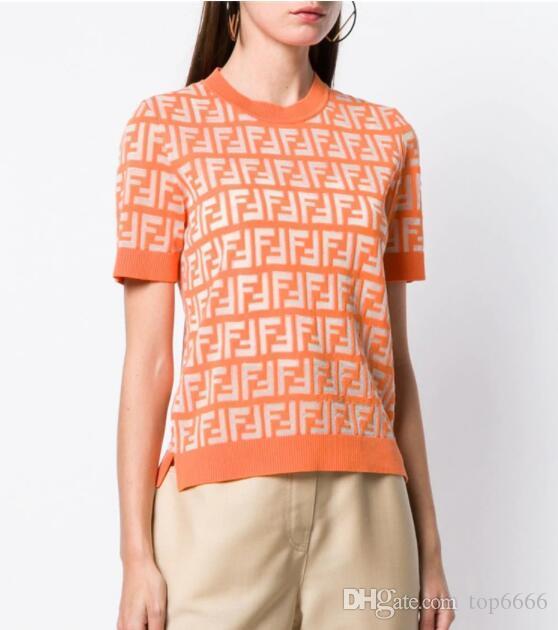 Kadın yaz flimsy T-shirt Klasik moda marka sıcak Ins Bayanlar Seksi F mektup baskı Hollow Yumuşak elastik Slim fit mesh OL bluz toptan