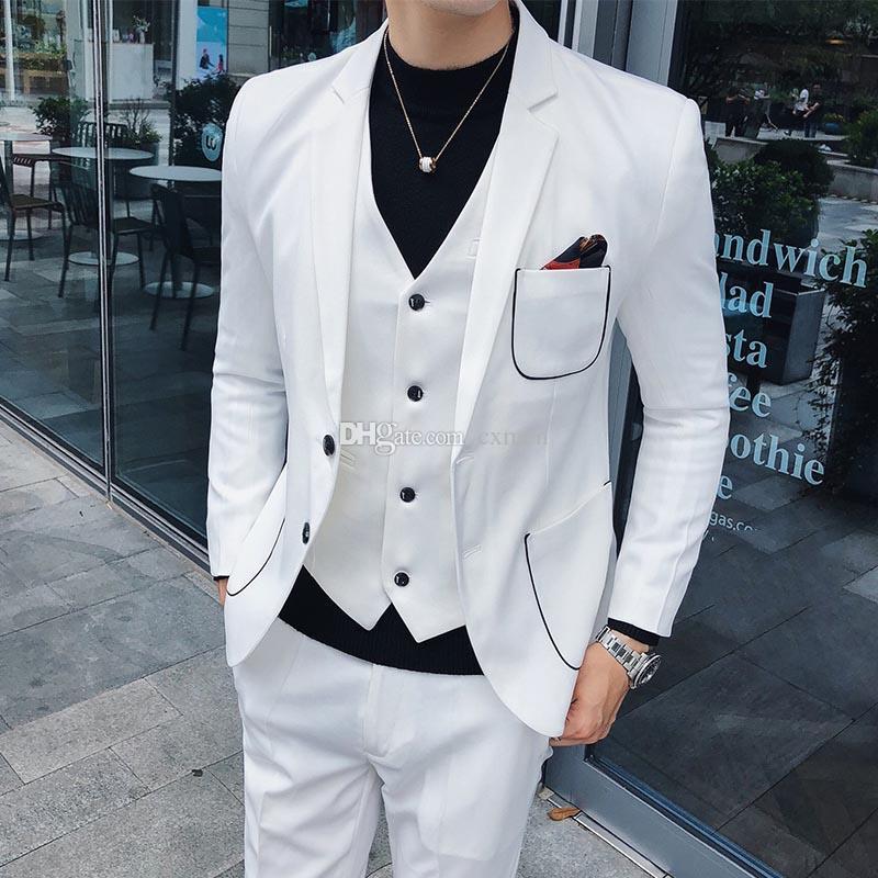 Tailored-made White Men Suits for Wedding Suit Men Blazer Prom Wear Slim Fit Groom Tuxedo 3 Piece Vest Jacket Pants
