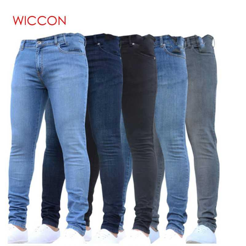 Nuevos Hombres Pantalones Lápiz 2019 Moda Hombre Casual Slim Fit Rectos Estiramiento Pies Skinny Zipper Jeans Para Hombres Pantalones de Venta Caliente