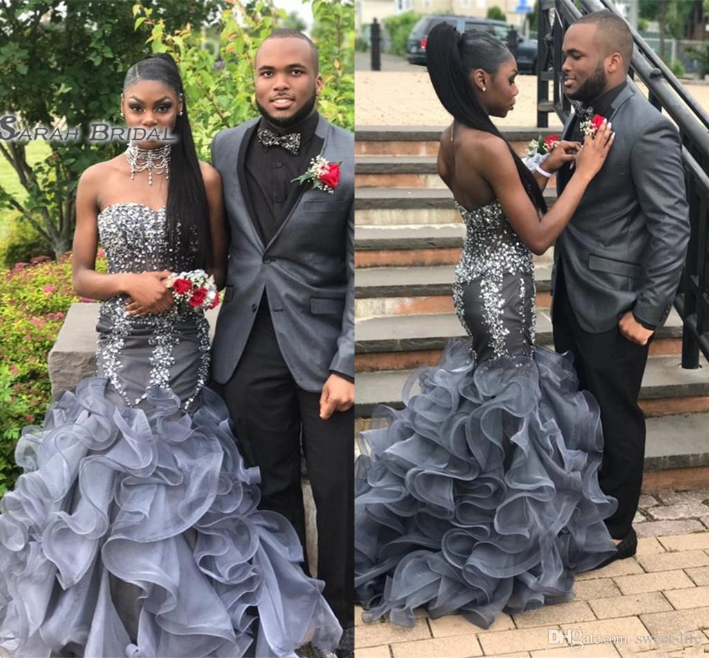 New Silver Grey Crystal Mermaid Prom Dresses Long Sweetheart Beading Appliques Cheap Formal Evening Gowns Celebrity Red Carpet Dress Peplum