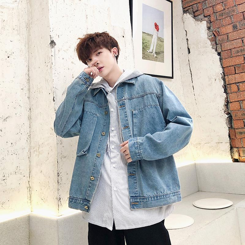 2019 autumn and winter new boys loose Hong Kong wind jacket denim clothing Korean version of the trend jacket casual