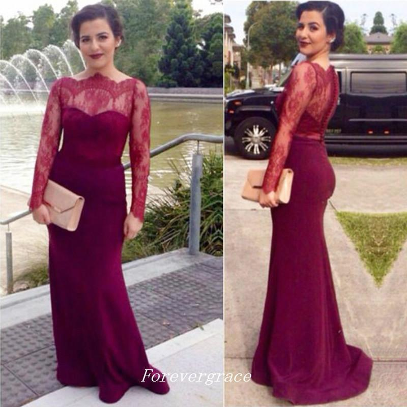 Elegant Lace Long Sleeves Burgund Red Evening Dress Sheath Sheer Celebrity Inspired Sweep Train Formal Prom Party Gown Custom Made Plus Size