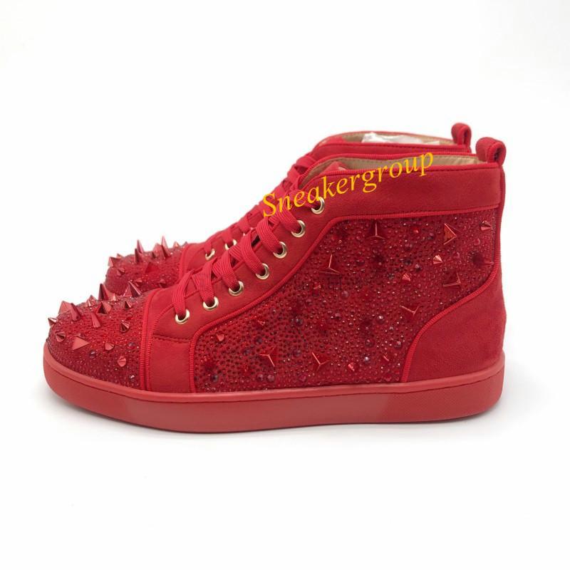 New 2019 Top Designer Männer Frauen rote untere Partei echtes Leder prickelnde Bottom verzierte Spitzen-Ebene-Schuhe Mode Luxusfreizeitschuhe 01
