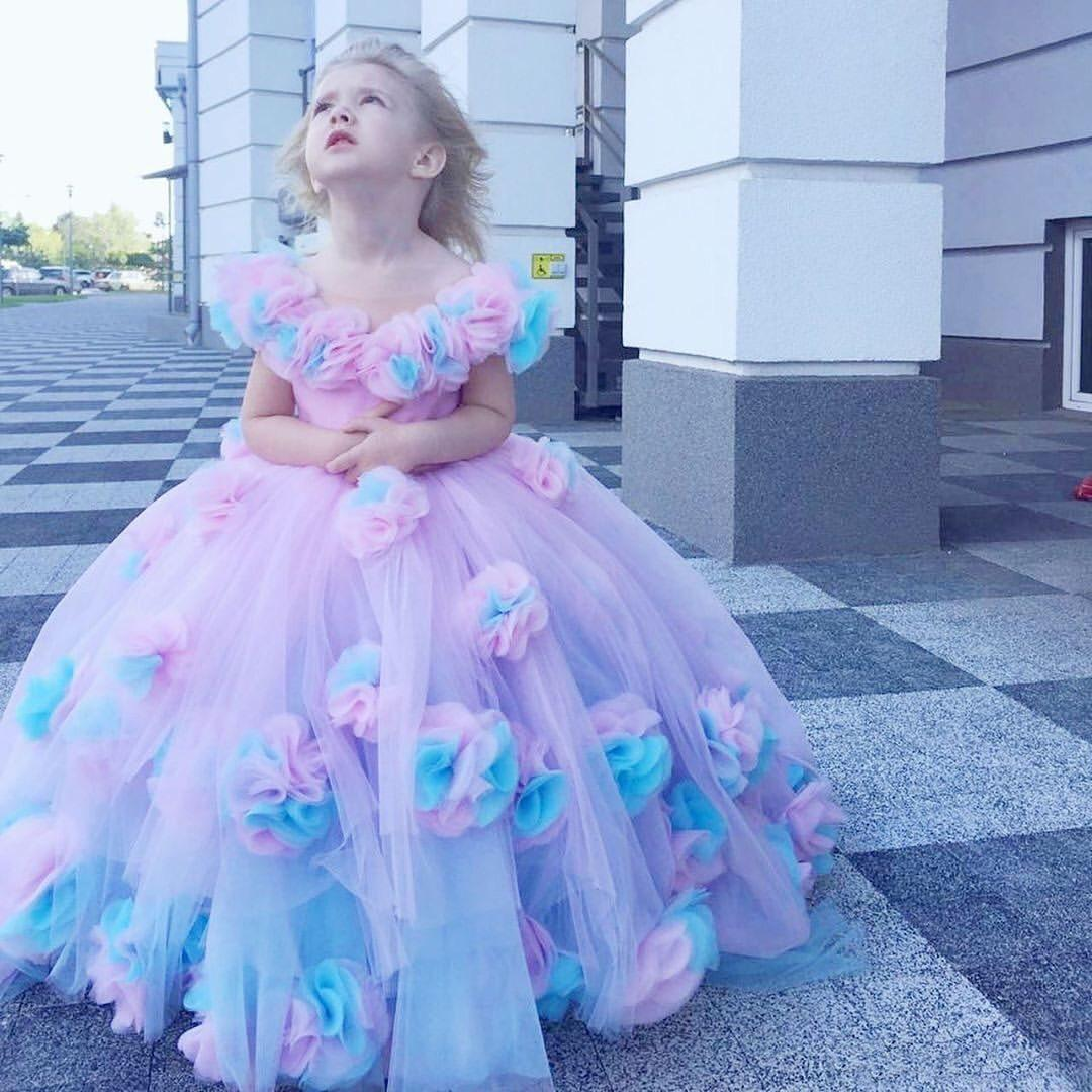 Colorful 2020 Flower Girls Dresses Hand Made Flowers Little Girl Wedding Dress A Line Pink Blue Pageant Communion Party Gowns Little Girl Easter Dresses Little Girl Wedding Dresses From Sweet Life 87 43