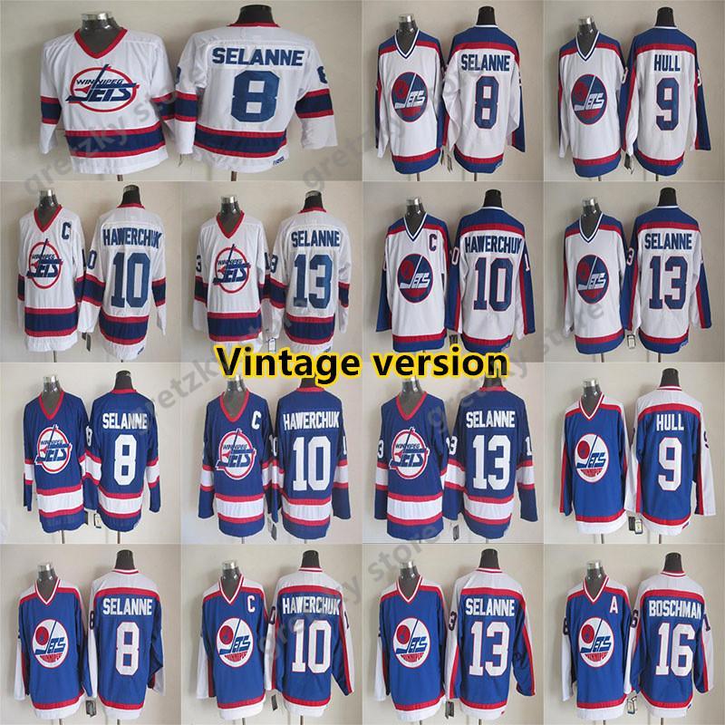Winnipeg Jets 빈티지 유니폼 13 Selanne 10 Hawerchuk 8 Selanne 16 Boschman 9 Hull CCM Hockey Jerseys