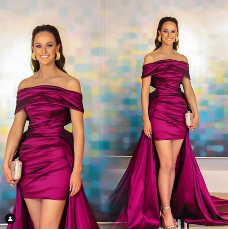 La nueva llegada atractiva fucsia del hombro vestidos de noche Con Deatachable tren de satén plisados del vestido de fiesta Vestidos de fiesta de la alfombra roja ogstuff