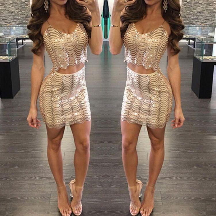 Wellenmuster Perle Fischschuppenkleid weiblichen zweiteiligen Anzug 2020 europäischen oder amerikanischen Diskotheken Goldsequins sexy Riemen Schritt Kleid