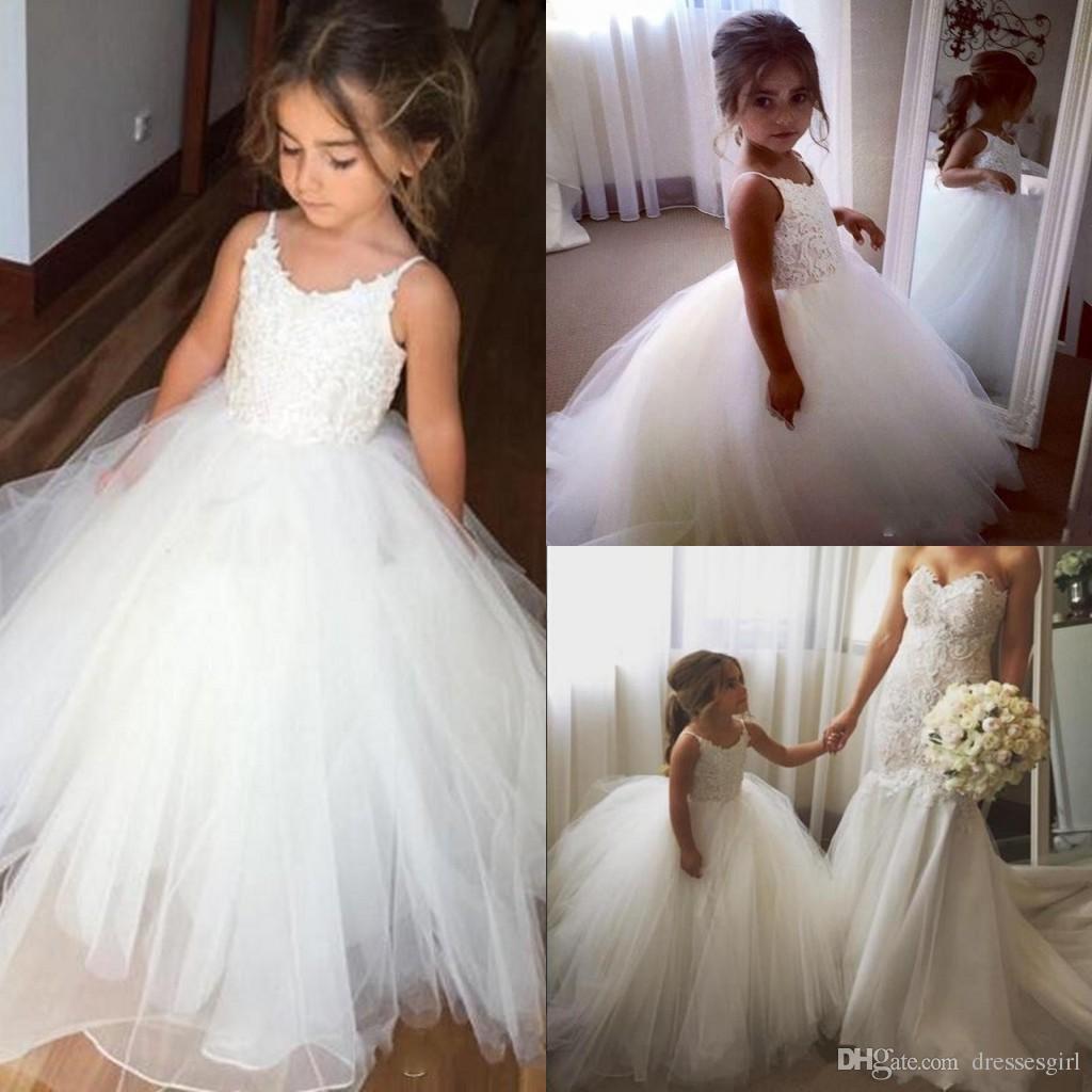 Cute White First Communion Dresses 2019 Kids Flower Girl Dresses Weddings Gown