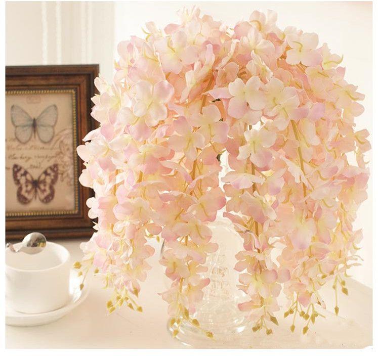 30PCS artificielle Hydrangea Wisteria fleur pour le bricolage arrière-plan Arche de mariage Place mur rotin Hanging panier peut être Extension