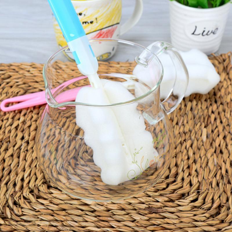 Neue Wasserflasche Cup Schwamm Reinigungsbürste Stiel Sponge Bürsten Ungiftiger Flasche Schwamm Bürsten-Reinigungs-Cup Küchenreiniger Werkzeug