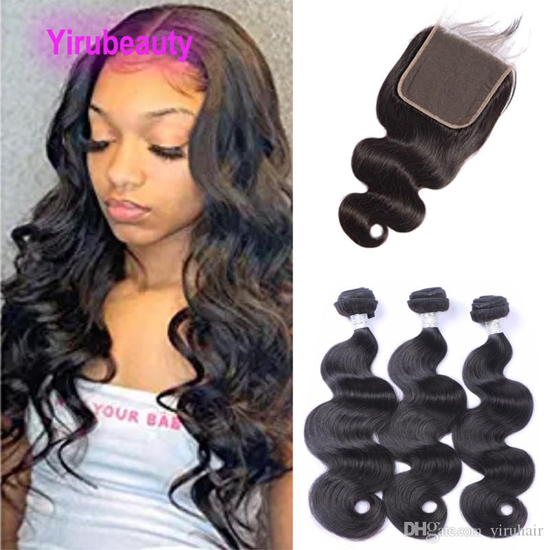 Peruvian 100% Human Hair Body Wave 3 Bundles With 6x6 Lace Closure Virgin Hair Extensions With 6*6 Closures With Baby Hair 10-28inch