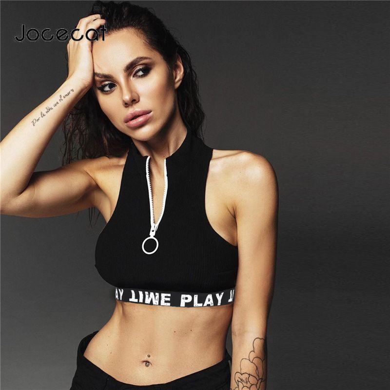 Casual Cortar Bralette Top fita Sexy Hem Zipper Turtleneck Mulheres Regatas Moda Verão 2019 Ativo Wear Vest Básico