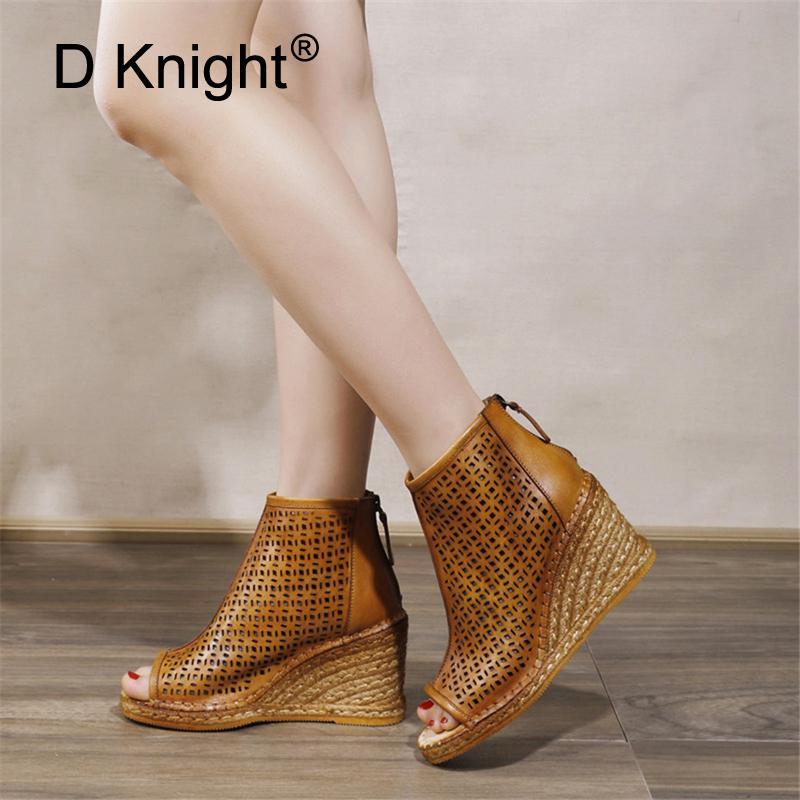 Printemps Eté 2020 Nouveau femmes Wedges Sandales Véritable Peep Toe en cuir creux tissé High Wedge talons Chaussures Femme Sandales montantes