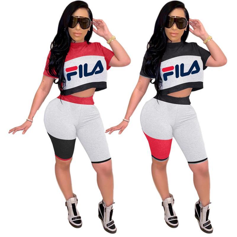 Set T-shirt de manga curta 2 Piece marca Mulheres Treino Verão + Shorts Carta Sports Suit Crew Neck Conjuntos Hot Sale Jogging Suit 3128