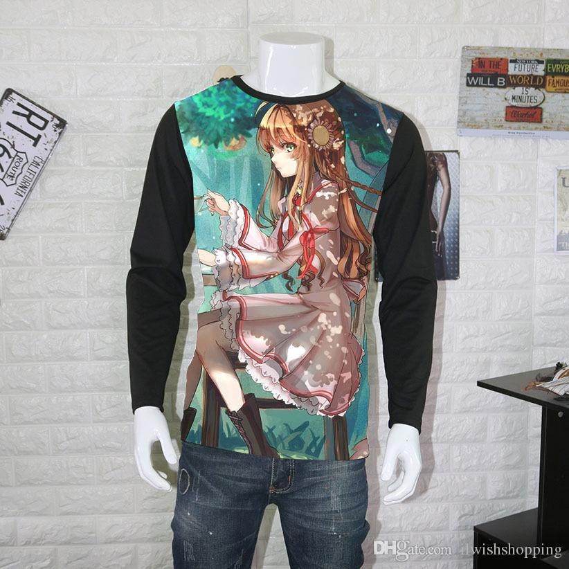 Rewrite Camiseta Anime Kanbe Kotori Senri Akane Cosplay Camisetas Moda Hombres Mujeres Camisetas de manga larga Tops