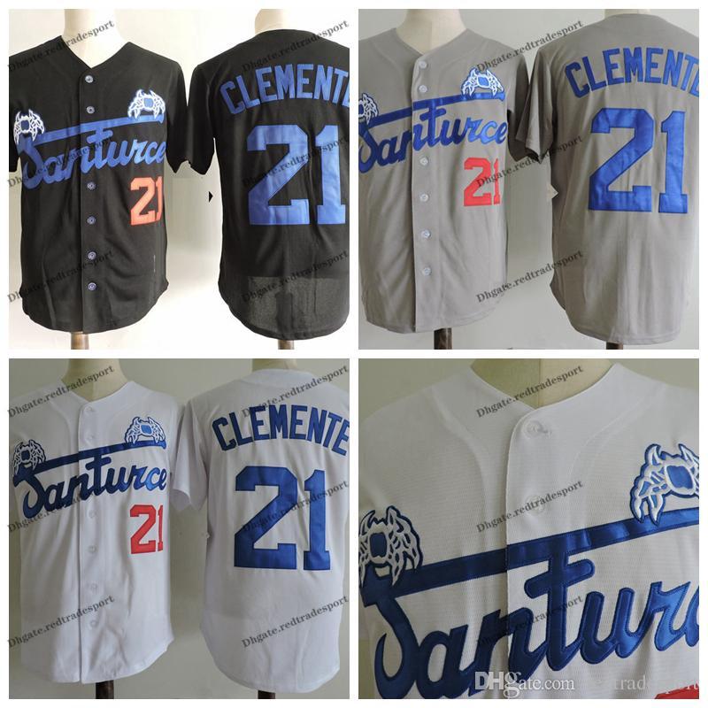 Mens Roberto Clemente Santurce Crabbers College Jersey de béisbol Barato 21 Roberto Clemente Jersey University cosido béisbol Camisetas
