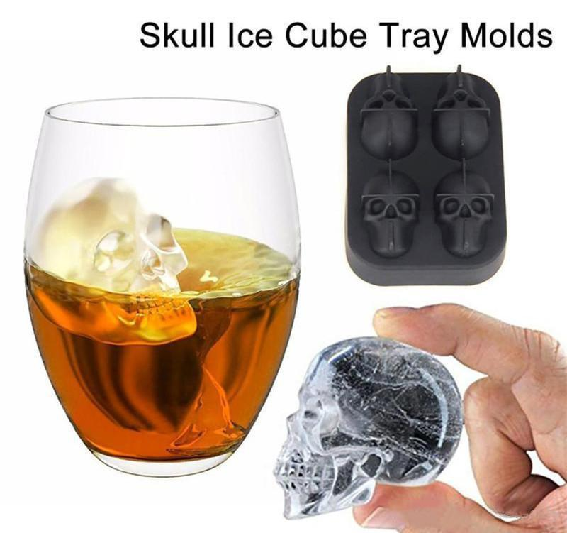 New Fashion Silicone Bones Skull Ice Cube Mold Kitchen Chocolate Tray Silicone Cake Candy Mold Cooking Tools Top Quality DHL Free Shipping