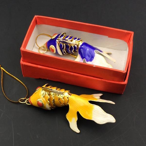 Hadas 5.5cm 7.5cm 9.5cm pescado colgantes para llaveros verdaderos para influir en la vida esmalte Goldfish Llavero encantos Llavero animal lindo con la caja