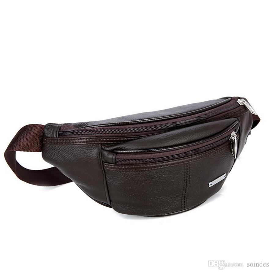 8 Retro Mens Cowhide Leather Outdoor waist pack Shoulder Bags With hook