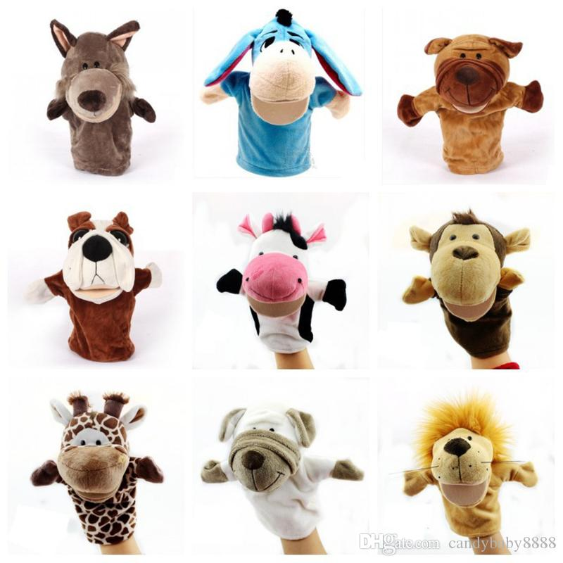 Parent-child interaction Christmas Hand Puppet Toys 24CM animal Stuffed Finger marionette For Baby Xmas Gifts C1356