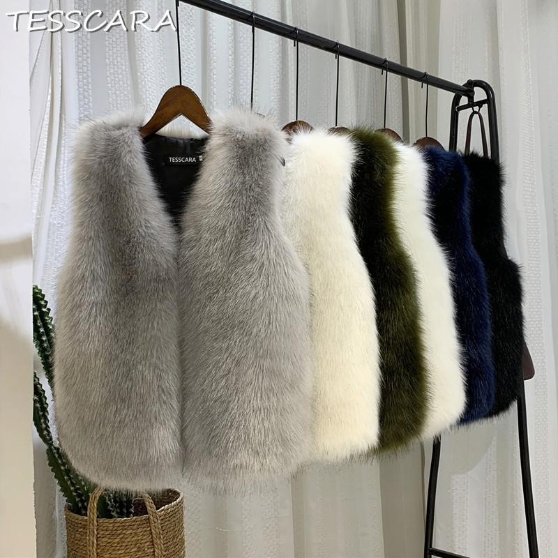 TESSCARA Automne Hiver Femme Fluffy en fausse fourrure Manteau Femme Gilet de haute qualité artificielle chaud Manteaux Plus Size XS-3XL