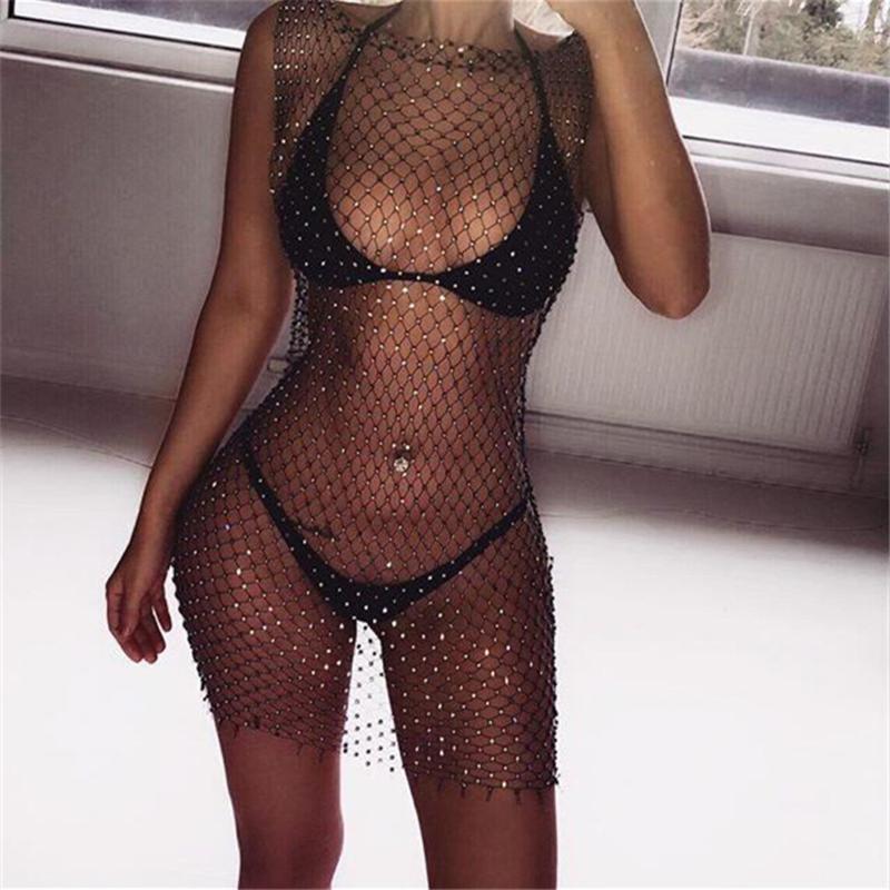 İmcute Yeni Bayan Seksi Bandaj Dantel File Bikini Parlayan Kolsuz Cover Up Mayo Mayo BeachBeachwear Sıcak SLAE