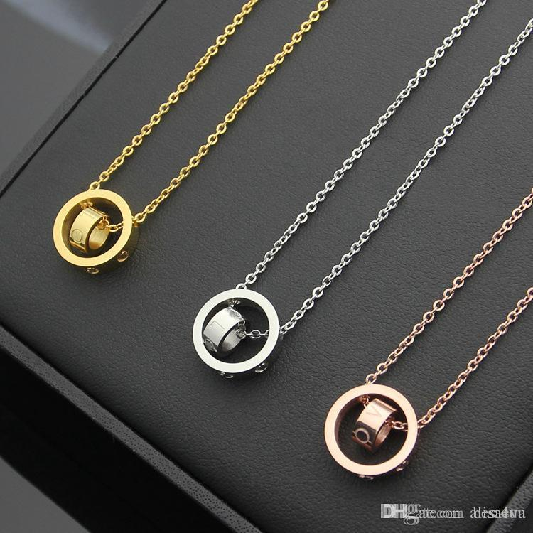 Titan Stahl Schmuck Großhandel Größe Doppel ring Halskette paar Größe innerhalb der Doppel ring Halskette rose gold Halskette Großhandel Anhänger