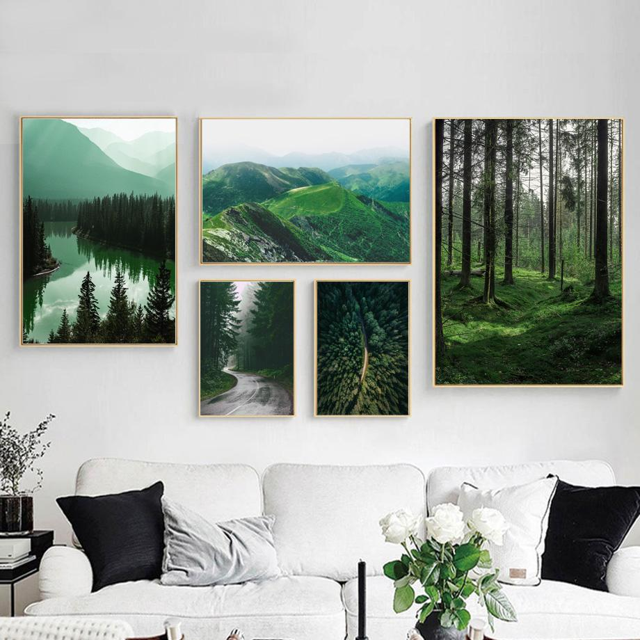 Mountain Road Wall Art Canvas Poster Nordic Landscape Print Living Room Decor