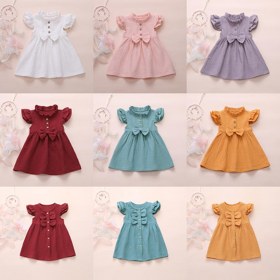 Fashion Cute Fly Sleeve Girls Bow Dress Children Party Sundress Summer Clothing