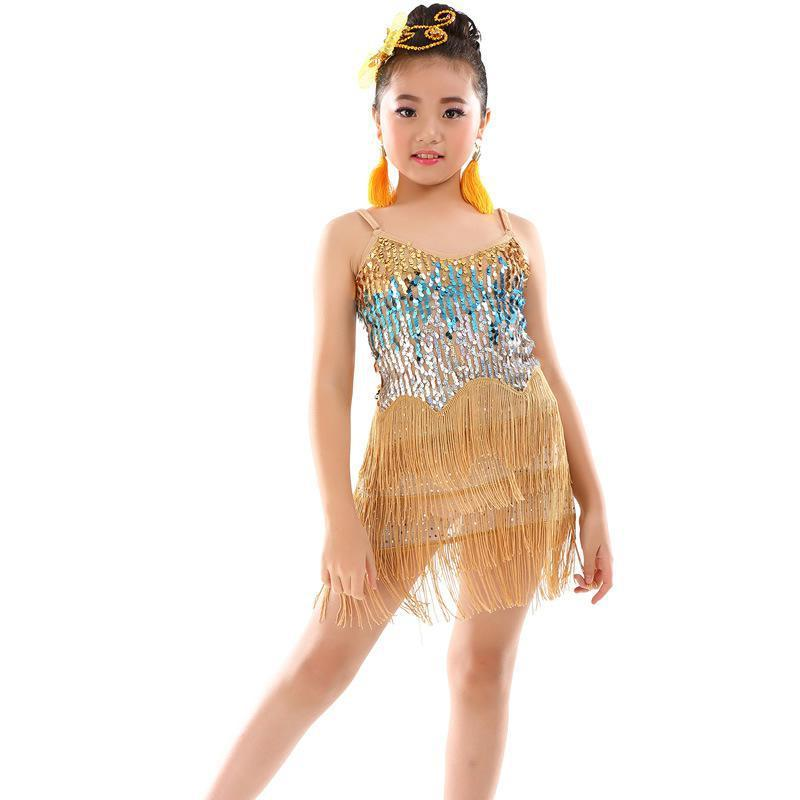 2019new Latin Dance Dress For Girl Sling Sequin Tassel Standard Ballroom Dancing Dresses For Kids Performance Wear Salsa Clothes