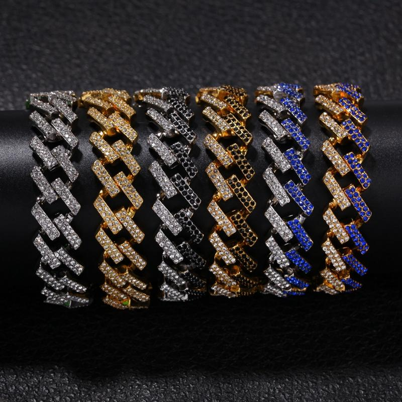 Mens Hip Hop Gold Bracelets Black Blue Diamond Bracelets Jewelry Fashion Iced Out Miami Cuban Link Chain Bracelet 8inch