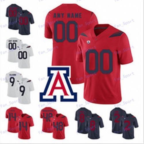 NCAA personnalisée Hommes 2020 Arizona Wildcats Football Maillots Nick Foles Khalil Tate K'hari Lane JJ Taylor Rob Gronkowski Marine Rouge Blanc 150E
