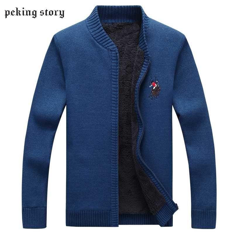 북경 이야기 남자 만다린 칼라 스웨터 가을과 겨울 남자를위한 슬림 맞는 클래식 솔리드 컬러 스웨터 남자 니트 스웨터