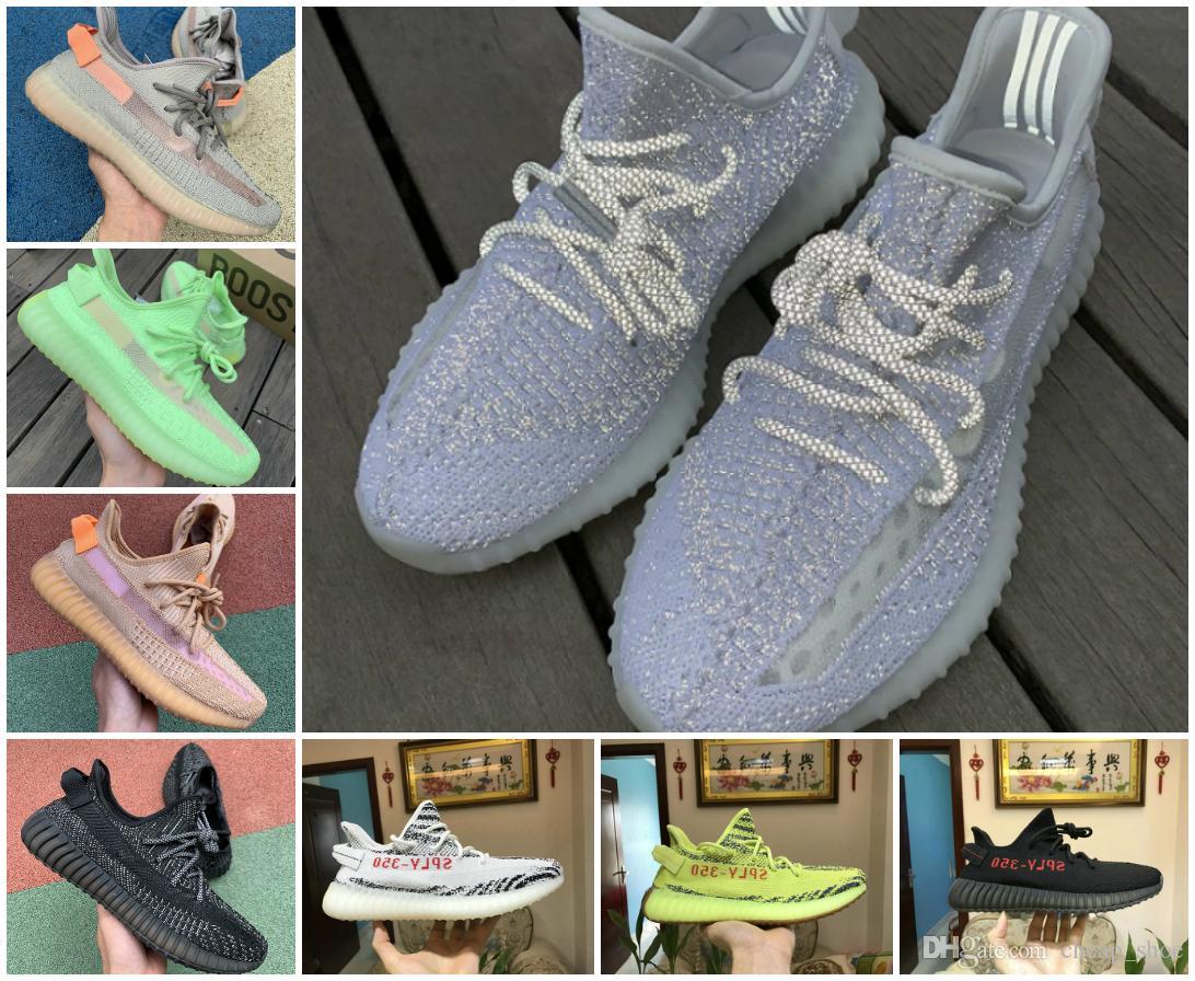 Bon marché 2019 Nouveau statique 3M Chaussures réfléchissantes Clay Belgua 2.0 Semi Frozen Chaussures Designer Jaune véritable forme Hommes Femmes Entraîneur Sneaker Taille 36-46