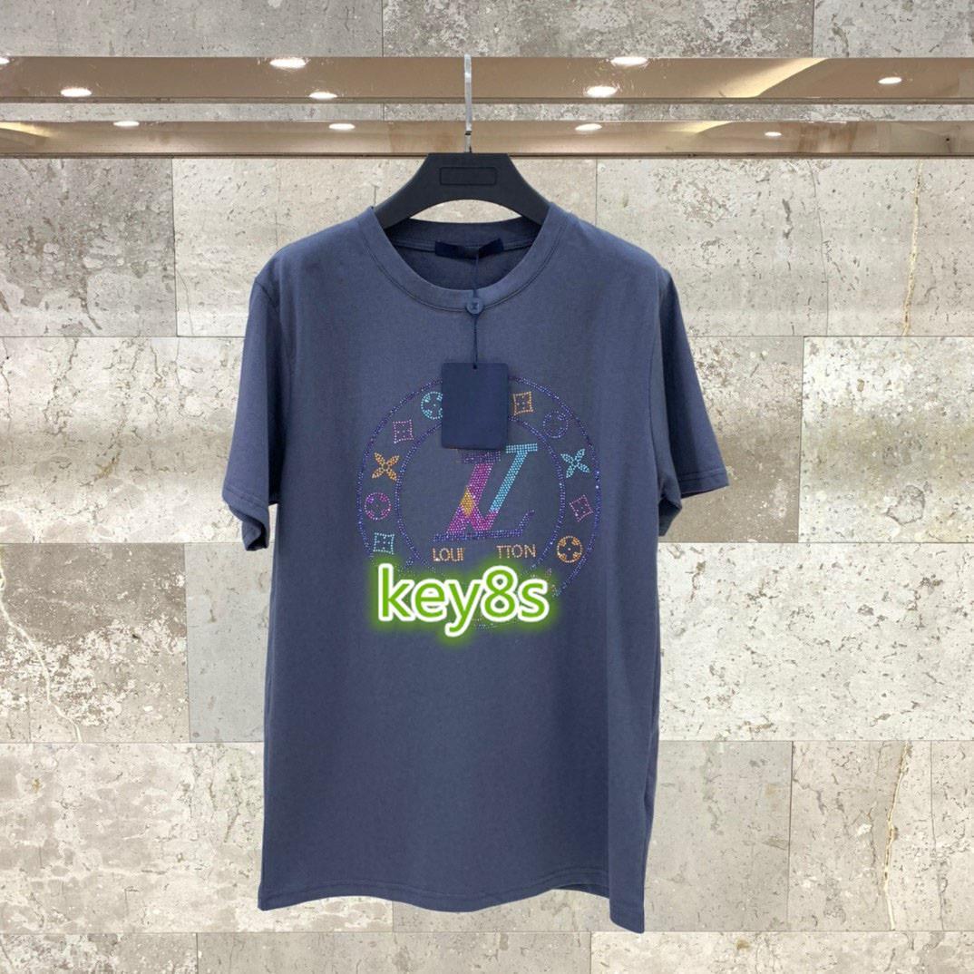 High-End-Frauen Mädchen Kurzarm-T-Shirt Brief Kristall Monogramm Druckmuster Bluse Sommer-T-Shirt Art und Weise Frauen Entwurf Pullovert
