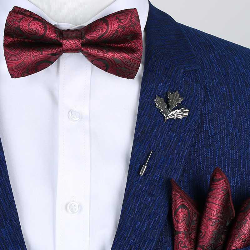 Bow Tie Takımı Erkekler Vintage Siyah Sarı Gümüş Kırmızı Gül Çiçek Paisley Gelinlik Erkek Bow Kravatlar Mendil Kravat Broş ayarlar