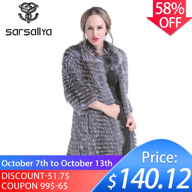 Gerçek Silver Fox Kürk Kadınlar Uzun Doğal Kürk Kadın Örme Bahar Bayanlar Lüks Plus Size 2019MX191009 için Hakiki Kürk Palto