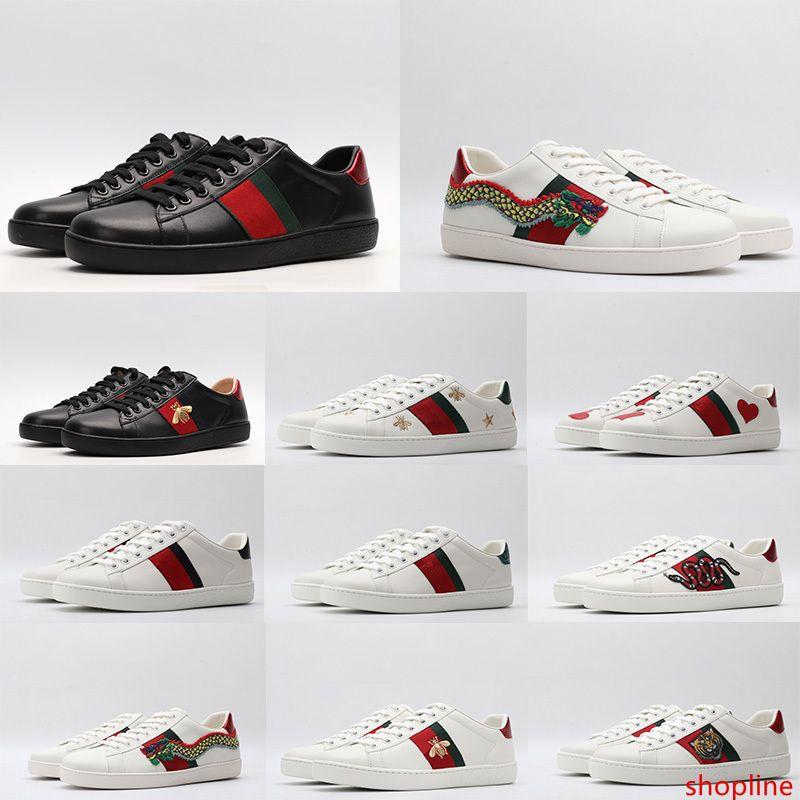 2020 Leather Triple Black White Ace Designer Scarpe Uomo donne di lusso Casual Shoes Vintage banda della stella del serpente Bee Sneakers formatori piattaforma