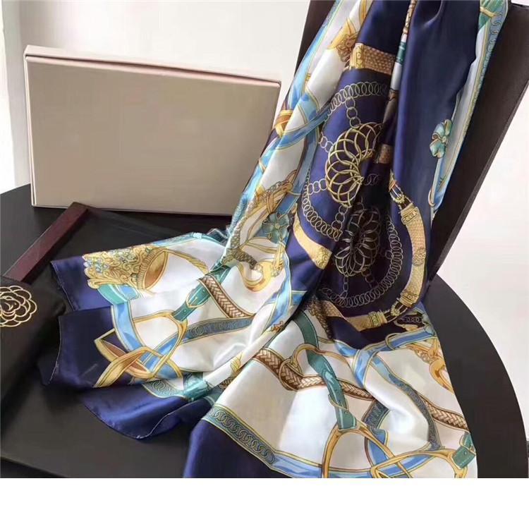 Designer 2018 Moda lenços para as mulheres Imprimir Silk Scarf Feminino 180x90cm longo Xaile Bandana de Chefe Grande Hijab Cachecóis Para Ladi