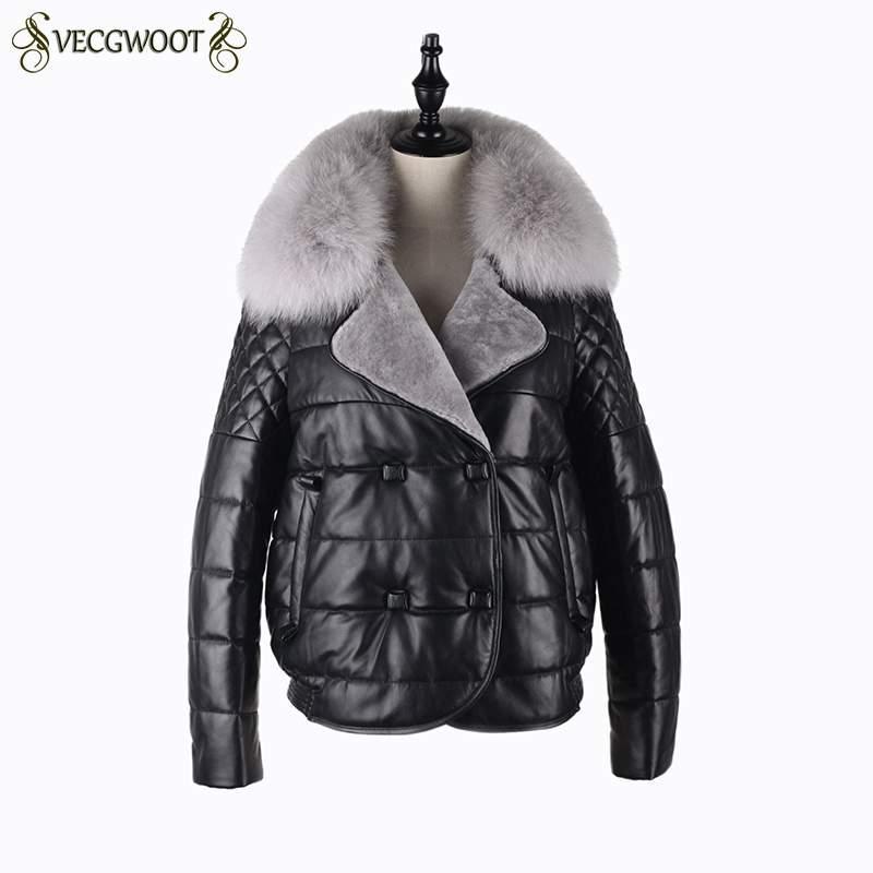 Moda Donna Vera Pelle Down Jacket 2018 New Winter femmine Coat Slim spessa caldo Cappotti collo di pelliccia corta PR372