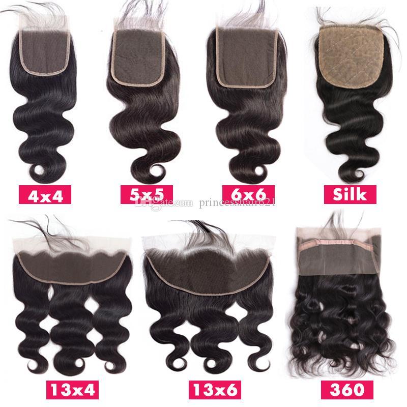أعلى الدانتيل إغلاق 4x4 5x5 6x6 13x4 13x6 360 الأمامي السويسري الدانتيل الشعر قطعة براقة البرازيلي الجسم موجة الشعر البشري إغلاق