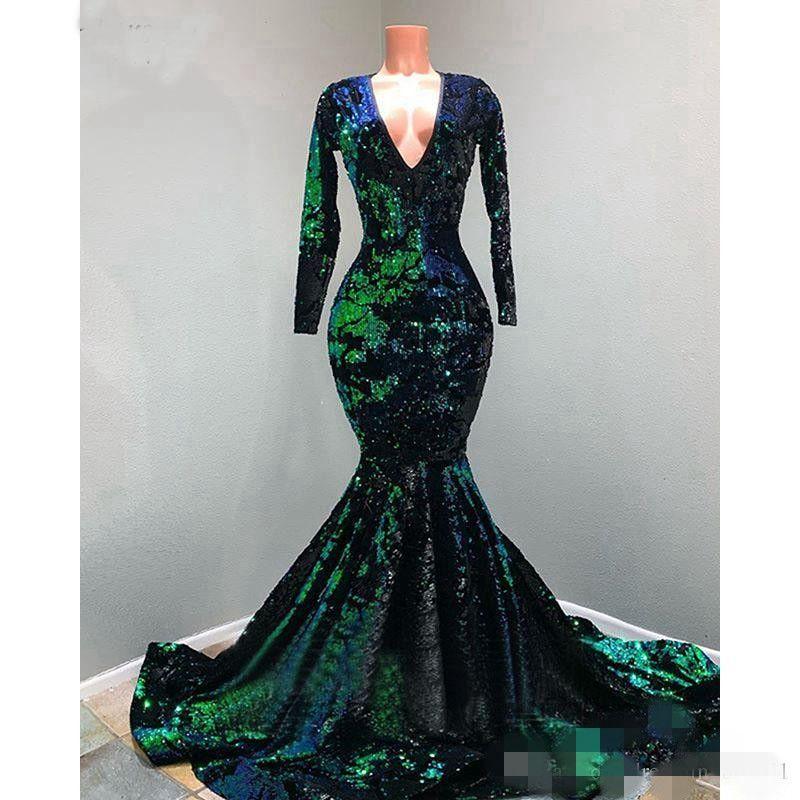 2020 Vintage Green Prom Abiti Abiti Lunghi Maniche Lunghe Paillettes Applique Pizzo Sexy Sexy V Collo V Plus Size Eveing Gown Abito Formale Occasioni Abbigliamento personalizzato
