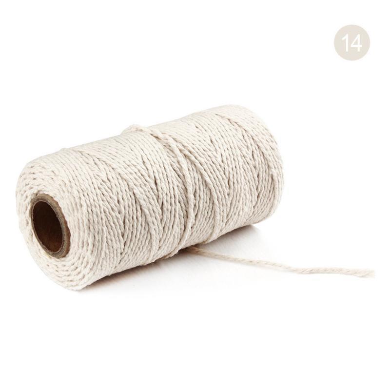 100 metros de largo / 100yard puro algodón trenzado del cordón cuerda Artesanía Macrame Artisan cuerdas de lino beige cuerda decoración del hogar Accesorios F12