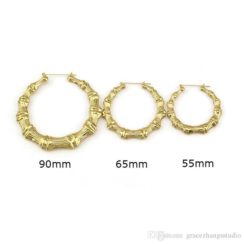 Hip hop bambu hoop küpeler kadınlar için batı sıcak satış basit huggie küpe Abartılı moda takı 90mm 65mm 55mm altın gül altın
