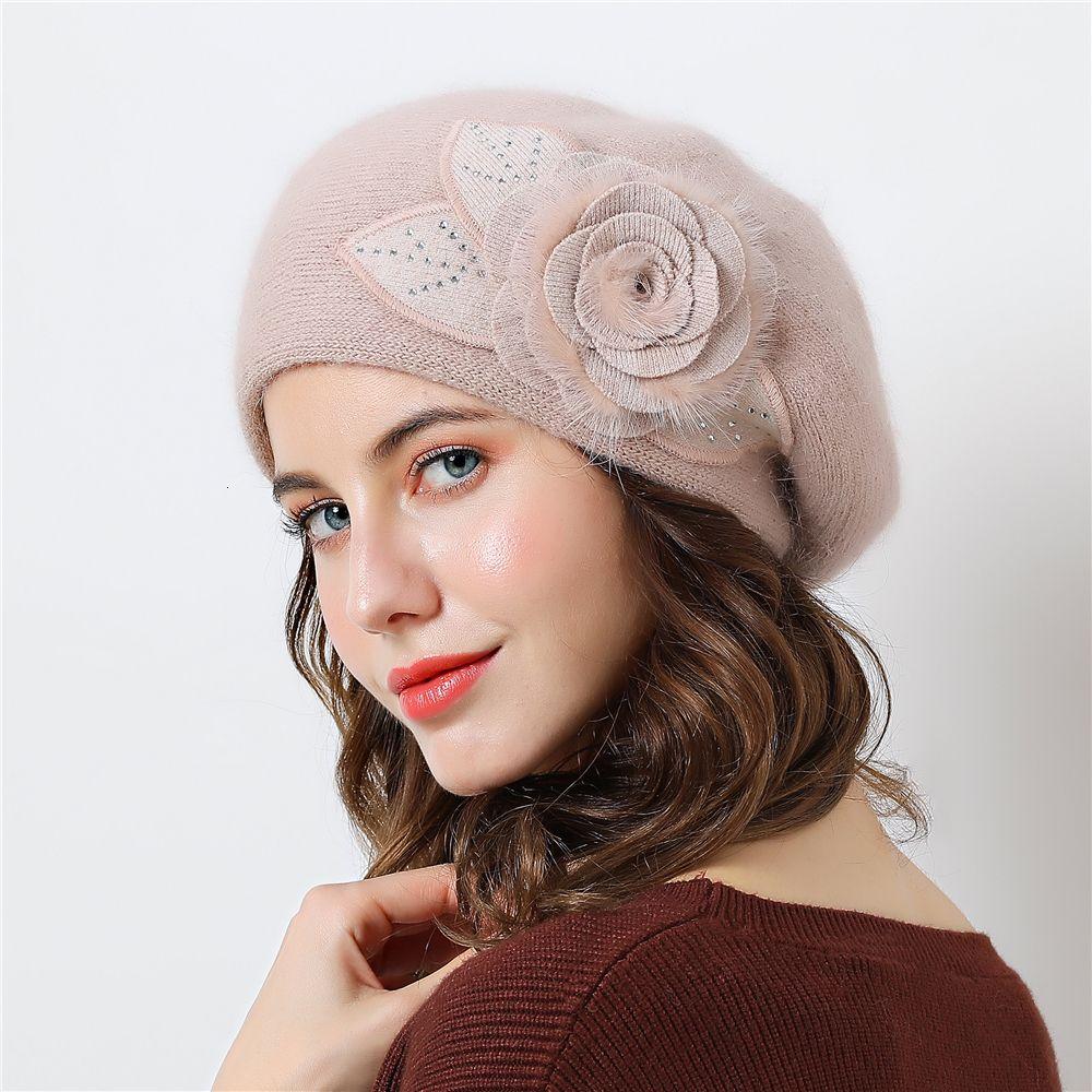 Double layer design winter hats for women hat rabbit fur for women's knitted hat Big flower cap beanies 2018 New Women's Caps T191030