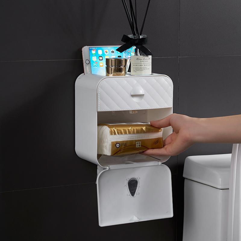 상자 T200425 받기 종이 플라스틱 천공 된 조직 화장실 롤 홀더 욕실에 대한 사례