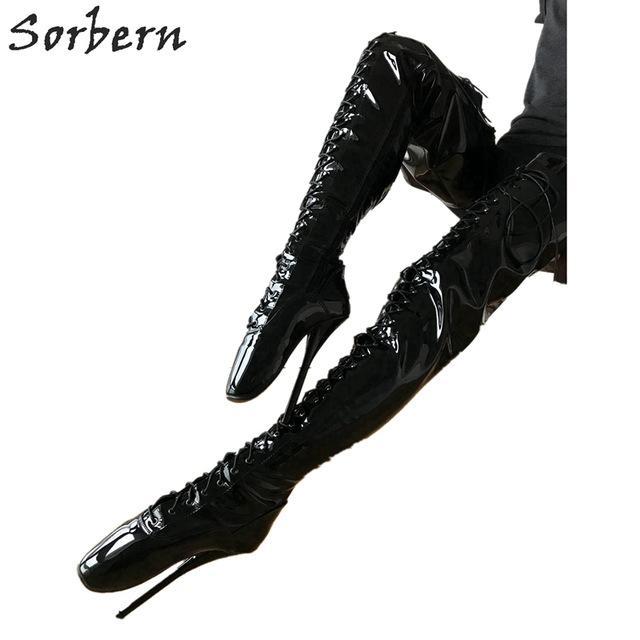 Sorbern Sexy Fetisch High Heel Stiefel Unisex Crotch Ballett Stiletto Sonderanfertigung Schwarze Lackstiefel 18cm Plus Size Designer Schnürschuhe