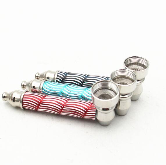Tubo metallico scala portatile a forma di Tabacco Tubi filtro in acciaio inox tubi di fumo portatile del bruciatore a nafta Smoking Pipe Picc GGA3622