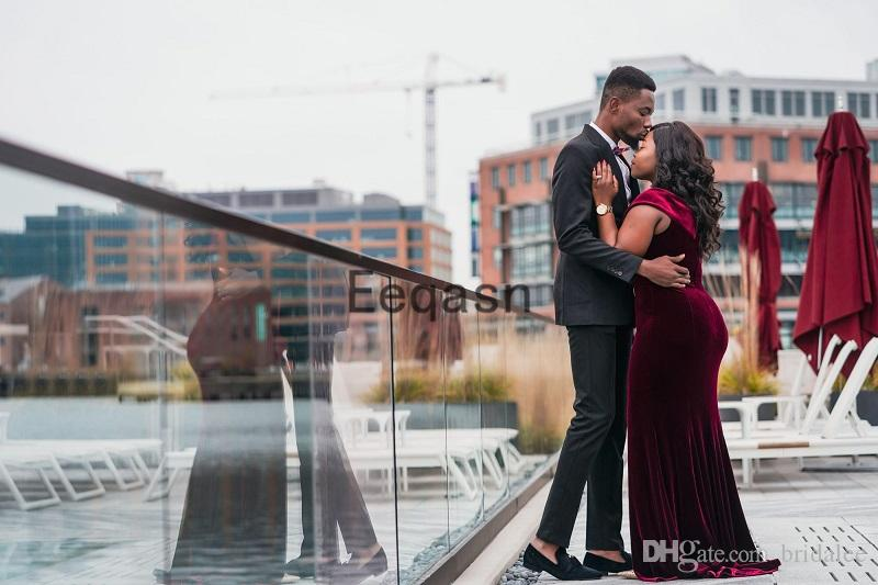 Borgonha Sereia Longos Vestidos de Baile 2019 Sexy V NBorgonha Sereia Longos Vestidos de Baile 2019 Sexy V Pescoço Dividir Veludo Feito Sob Medida de Moda Brithda